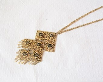 NEW YEAR SALE! Iconic 1960s gold-plated rose-patterned statement articulated pendant necklace