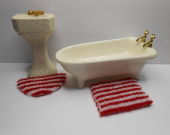 Dollhouse red and white striped mini rug set rectangle and half round