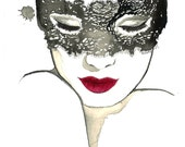The Masked Beauty, print from original watercolor fashion illustration by Jessica Durrant