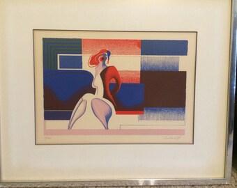 Georgia Daskaloff signed numbered matted framed lithograph print mid century modern art artist rare