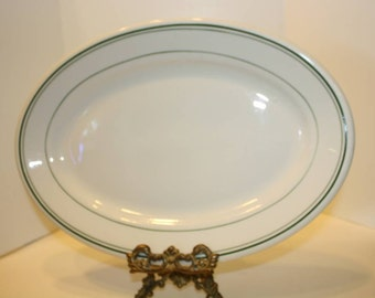 Vintage Wellsville China Ironstone Restraurant Ware Platter with Green Lines