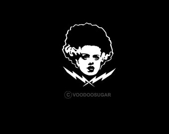 Bride Of The Frankenstein Monster White Classic Horror  vinyl decal / sticker Elsa Lanchester