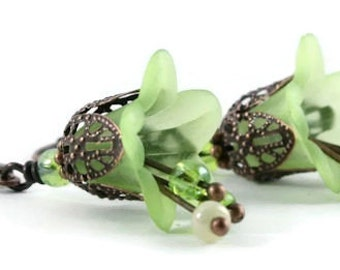 Green lily flower and antique copper leverback earrings (163) - Flat rate shipping