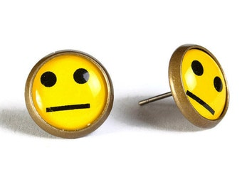 Yellow smile smiley hypoallergenic stud earrings (504) - Flat rate shipping