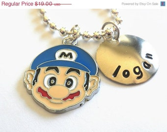 Mario Necklace -  Hand Stamped Personalized - Your little Gamer will love this one - #g604