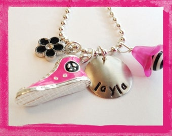 Converse Style Necklace Hand Stamped PINK SPORT SHOE High Top Tennis Shoe Personalized Charm Necklace #S67