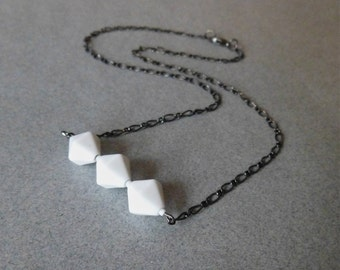 SALE / White Japanese Glass Hexagonal Bead and Gunmetal Chain Necklace // Geometric // Modern // Minimal
