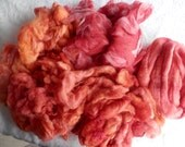 "VALENTINE SPECIAL 8 oz Hand Dyed Fiber Arts Kit - ""Coral Sea"" - Corriedale Batts, Shetland Locks and Merino-Tencel Roving   locAB"