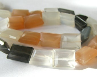Multi Color Moonstone faceted rectangle nuggets - 10 inch strand with beads 8.5mm - 11mm (3m19)