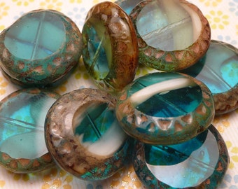 Teal Swirl Glass Coin Beads 15mm - 4pc