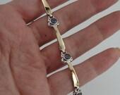 ISRAEL Fine Yellow Gold & 925 Sterling Silver Amethyst Flower Bracelet (s r1188)