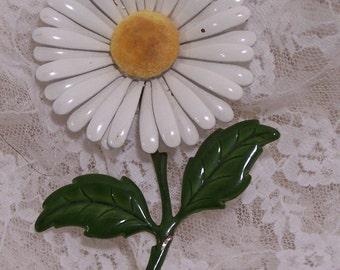 Vintage Daisy Flower Brooch, Green Leaves, Yellow & White Flower Pin, Estate Jewelry, Wedding Bouquet Jewelry, 1960's Enamel Statement Piece