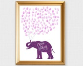 elephant fingerprint guest book - printable file -  wedding guest book baby shower guest book birthday, fingerprint tree alternative, custom
