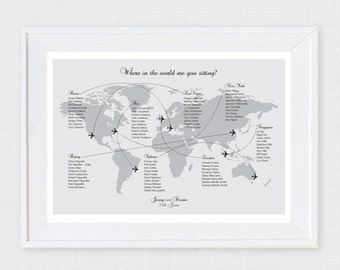 come fly with me wedding seating chart - printable file - airplane world map wedding table plan