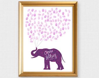 elephant fingerprint guest book - printable file -  wedding guest book baby shower guest book birthday, fingerprint tree alternative, custom