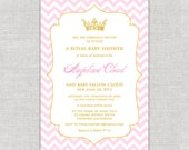 Royal Chevron Baby Shower Invitation in Pink & Gold