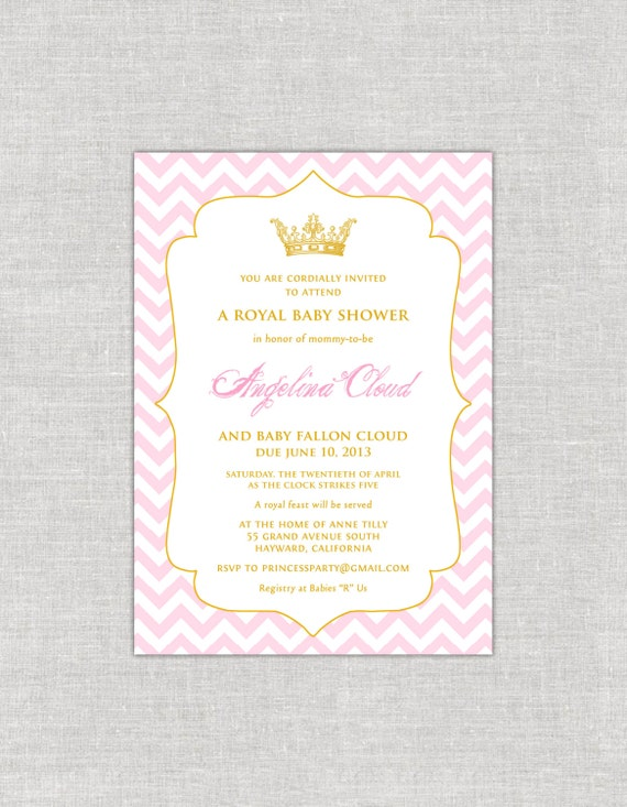Royal chevron baby shower invitations blush and gold invitations il570xn filmwisefo Images