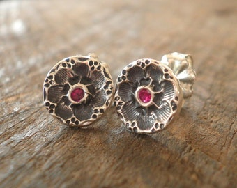 Birthstone Sparkly Flower Post Earrings Fine and Sterling Silvers
