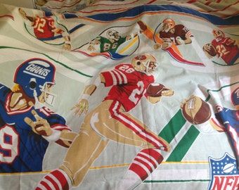 Logo Football NFL Team Names Vintage 80s FULL Fitted  Sheet