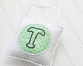 Embroidered Felt Ornament - Initial Letter T - Personalized - Home Decor - Personalized - Monogram -