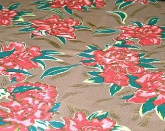 Vintage Fabric - Tropical Pink Flowers on Mocha - Dauphin Hand Print 45 x 38