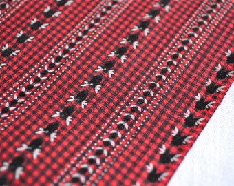 Vintage Fabric - Red and Black Check Stripe With Flocked Details - 35 x 45