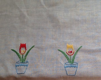 White Linen Tablecloth with Embroidered Tulips