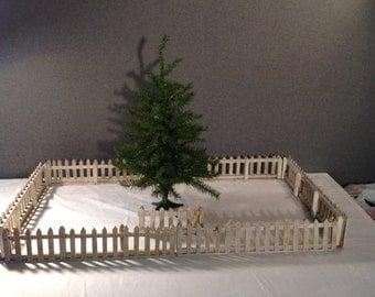 Folk Art Handmade White Picket Christmas Tree Fence (0-112)