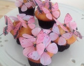 BUY 45 Get 4 FREE Blushing Glamour in Pink - Pink Butterfly Embellishments - Shower Decorations - 3D edible butterflies by Uniqdots on Etsy