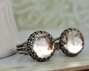TIMELESS SPARKLES antiqued silver or antiqued brass ring with glass crystal cab