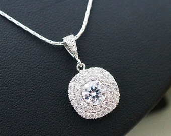 Wedding Jewelry Bridal Jewelry Bridal Necklace Clear White LUX Cubic Zirconia halo style square drop Necklace
