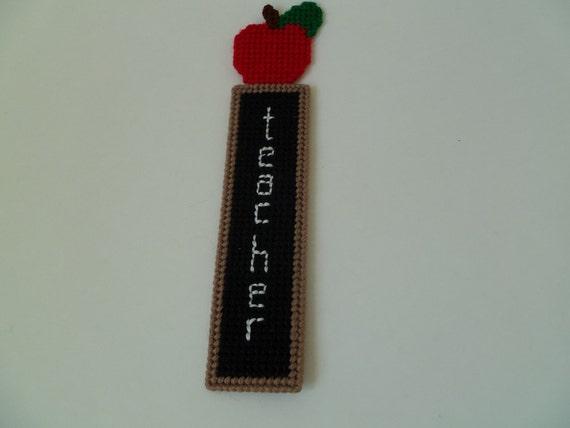 Teacher Apple and Chalkboard Bookmark