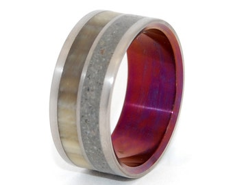 Titanium Wedding Rings, Cattlehorn, Concrete Ring, Eco-Friendly, Mens Ring, Womens Ring - JUNIPER FLOWERS