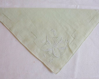 Vintage Wedding Hankie Mint green embroidered handkerchief