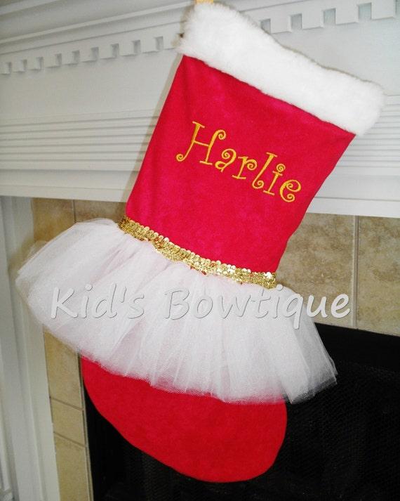 Christmas Stocking - Unique Monogrammed Red Gold White Tutu Holiday Stocking - Personalized Stocking