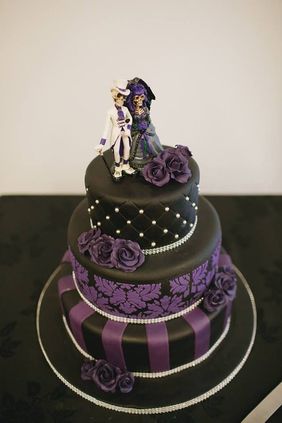 Love Never Dies Bride And Groom Day Of The Dead Gothic Purple