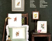 State Bird and Flower Stamps Book Four The Midwest Illinois Ohio Iowa Kansas Dakotas Counted Cross Stitch Embroidery Craft Pattern Leaflet