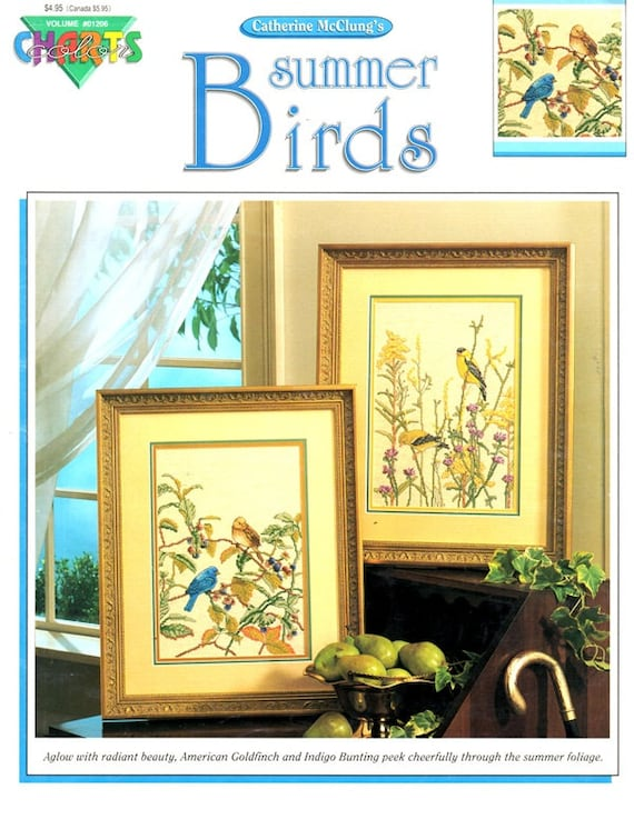Summer Birds Goldfinches Indigos Goldenrod Blue Bird Berries Field Wild Flowers Counted Cross Stitch Embroidery Craft Pattern Leaflet 01206