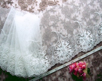 White lace, Embroidered lace, Tulle lace, Bridal lace, Floral lace, Girls tutu, Lace trim, 2 yards WT149