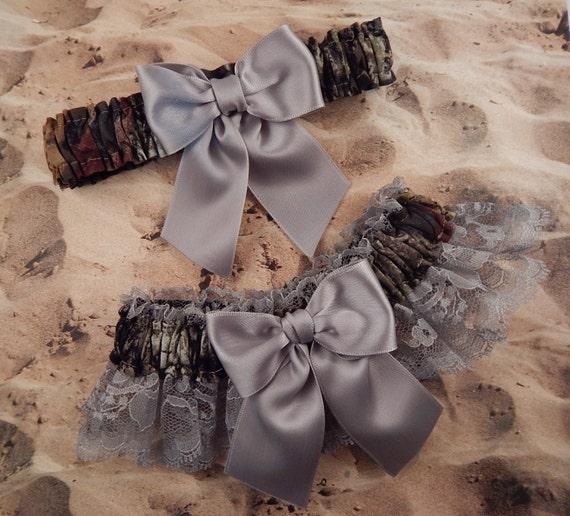 Camo Camouflage Gray Ribbon Gray Lace Bridal Wedding Garter