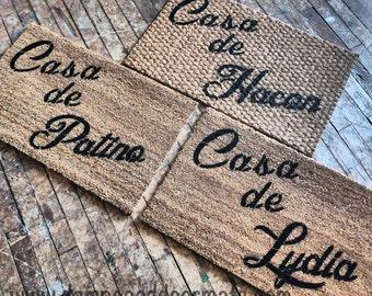 Personalized Casa de --- Spanish home doormat  wedding housewarming host gift
