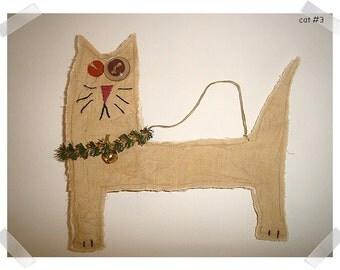 Crazy Cat Ornament/Tea Dyed Muslin /Handmade**