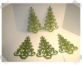 Glittered Tree Ornaments/ Single OR Set of 5*/Craft Supplies*