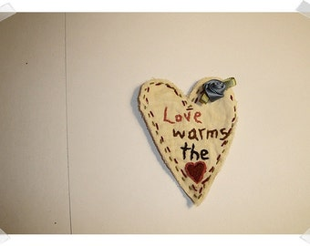 Heart/ Muslin Fabric -Ornament, Magnet, Pin OR Key Ring / Handmade**