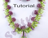 Tutorial Beadweaving  Flowers Set, Necklace and Earrings Glass Czech Beads, PDF Beading  Patern
