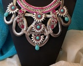 Beautiful Floral Silver Colorful Statement Necklace