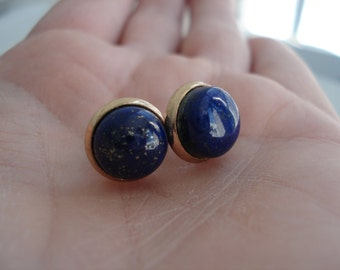 Lapis Lazuli Earrings in Gold Stud Pierced Earrings