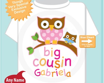 Personalized Big Cousin Shirt, Big Cousin Owl Tee Shirt or Big Cousin Onesie Pregnancy Announcement, Owl Big Cousin (06242014b1)