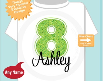 Eighth Birthday Shirt, Lime Green Number 8, 8th Birthday Shirt, Personalized Girls Birthday Shirt for kids (04182013a)