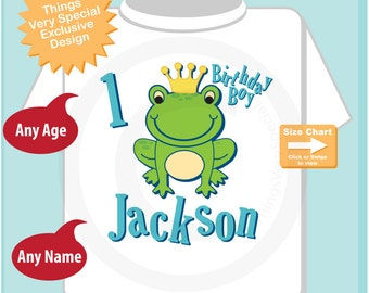 1st Birthday Shirt, Frog Prince Shirt, Personalized Frog Prince First Birthday Boy Tee or Onesie (08302010b)